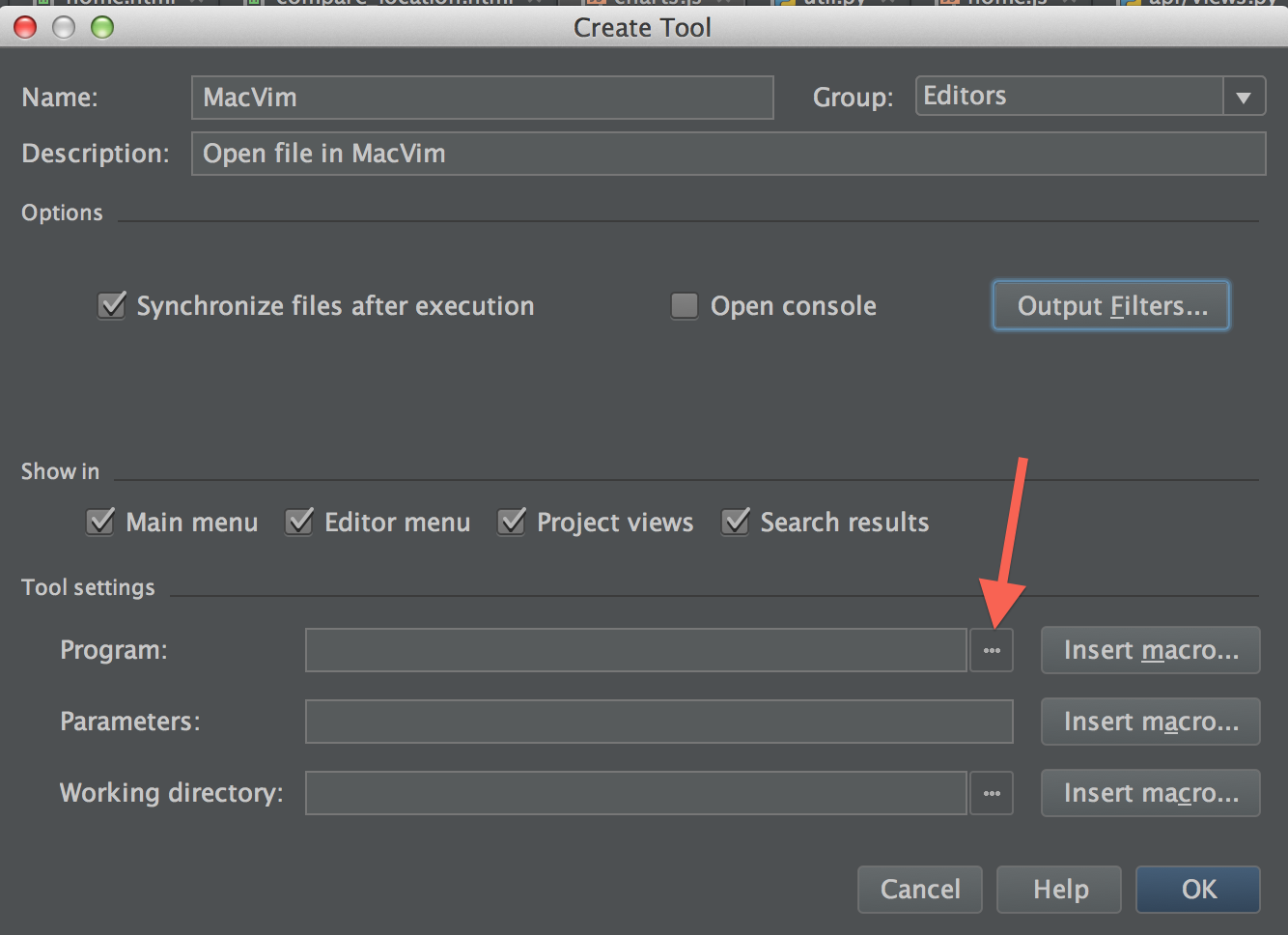 Setting the program path for an external tool in PyCharm